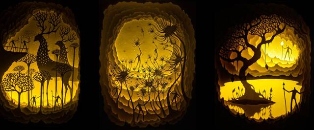 《More from Hari & Deepti's Line of Backlit Paper》 - Sculptures