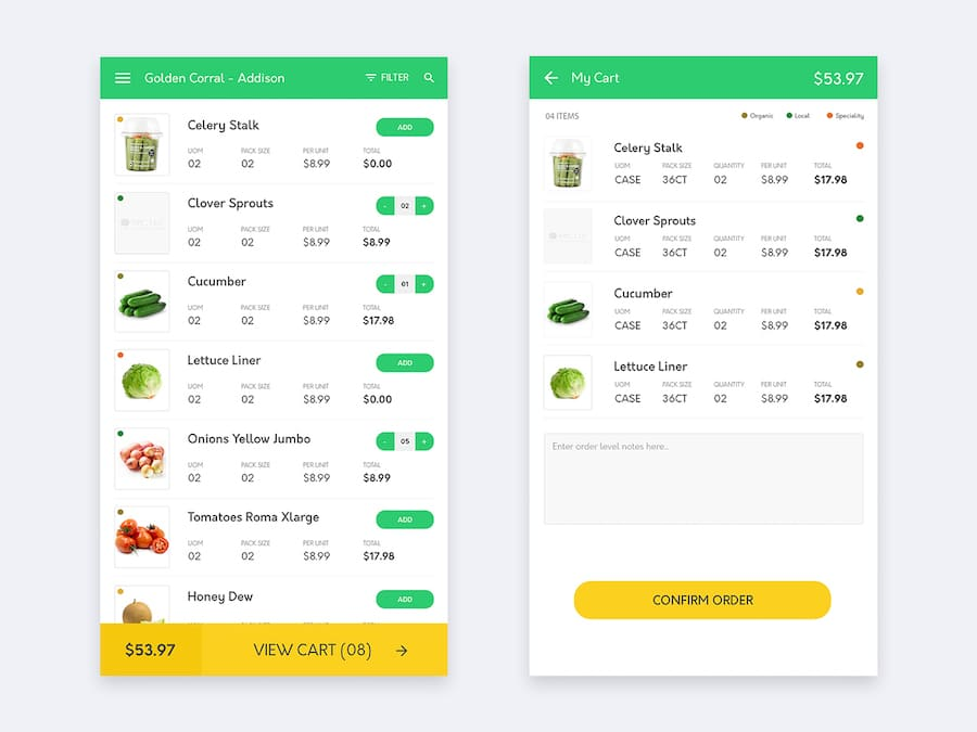 Groceries Shopping App Interaction